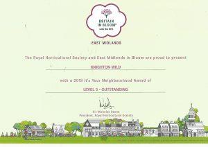 Knighton Wild's Certificate for achievement on Knighton Green